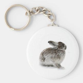 Wild Rabbit in the snow Basic Round Button Keychain