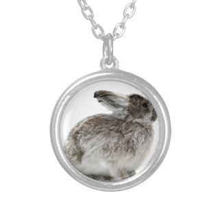 Wild Rabbit in the snow Round Pendant Necklace