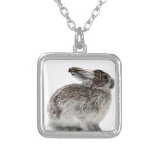 Wild Rabbit in the snow Square Pendant Necklace
