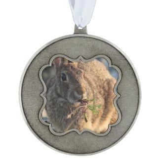 Wild Rabbit Scalloped Pewter Ornament