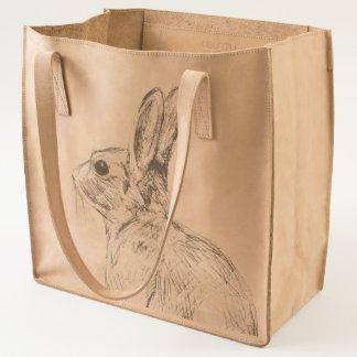 wild rabbit leather tote bag