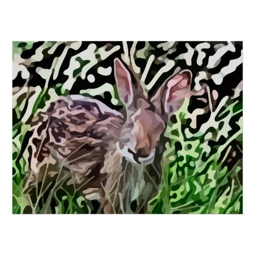 wild rabbit painting poster