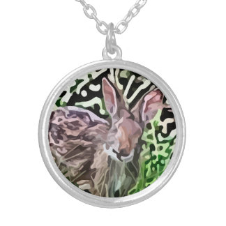 wild rabbit painting round pendant necklace