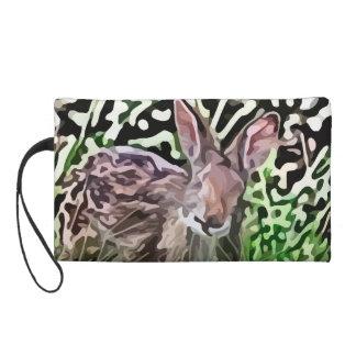 wild rabbit painting wristlet purse