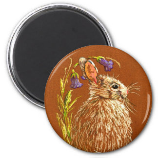 Wild Rabbit Round Magent Magnet