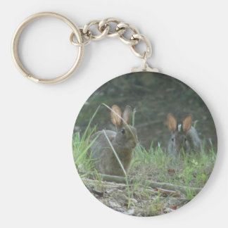 Wild Rabbits Eastern Cottontail Pair Apparel Gifts Keychain