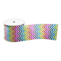 Wild Rainbow Chevron Pattern Satin Ribbon