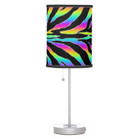 Wild Rainbow Zebra Glitter Stripes Animal Print Desk Lamp