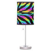 Wild Rainbow Zebra Glitter Stripes Animal Print Desk Lamp