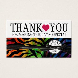 Wild Rainbow Zebra Sweet 16 Thank You Business Card
