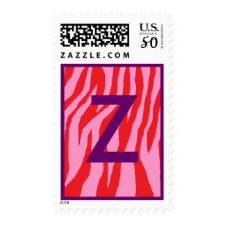 Wild Red & Pink Zebra Postage