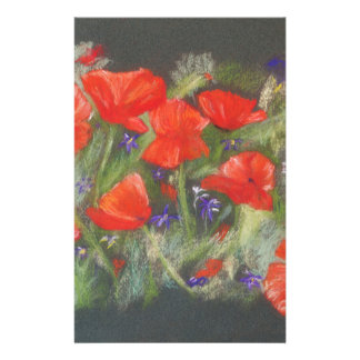 Wild red poppies display stationery