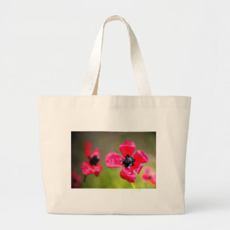 Wild Red Poppies Large Tote Bag