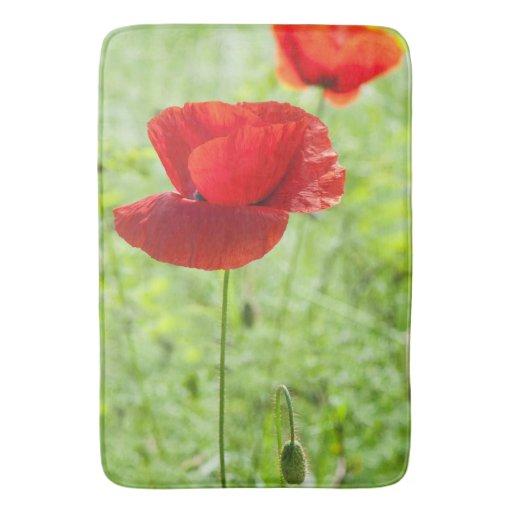 Wild Red Poppy Flower Bathroom Mat Zazzle