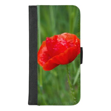 Wild red poppy flower iPhone 8/7 plus wallet case