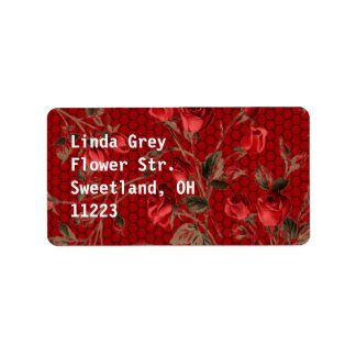 Wild Red Roses Bright Red Address Label