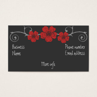Wild Red Roses Chalkboard Business Card