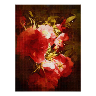 Wild Red Roses Poster, Dark Oil Painting Poster