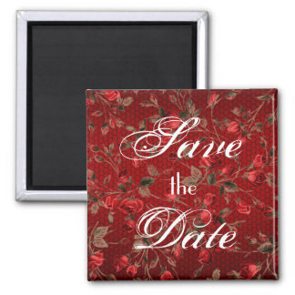 Wild Red Roses Save the Date Magnet