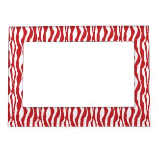 Wild Red Zebra Print Magnetic Photo Frame