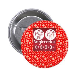 Wild Red : Zodiac Sagittarius Symbol Pinback Button