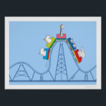 """WILD RIDE ROLLER COASTER by Sandra Boynton Poster<br><div class=""""desc"""">Life certainly has its ups and downs and ups and downs and... you get the idea. This dynamic design by Sandra Boynton captures the delight and non-delight of the wild ride, from the intrepid skeptical elephant in the front car, those wave-your-trotters-in-the-air exuberant pigs in the next car, all the way...</div>"""