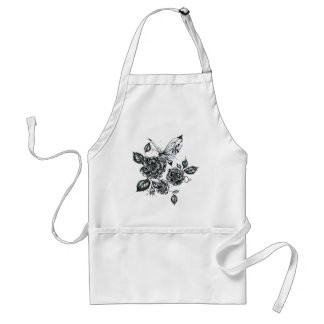 Wild Rose and Butterfly Adult Apron