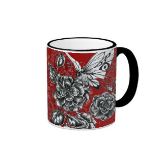 Wild Rose and Butterfly Ringer Coffee Mug