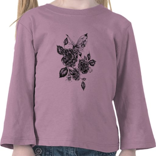 Wild Rose and Butterfly Tshirt