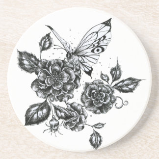 Wild Rose & Butterfly Coaster