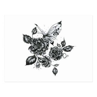 Wild Rose & Butterfly Postcard