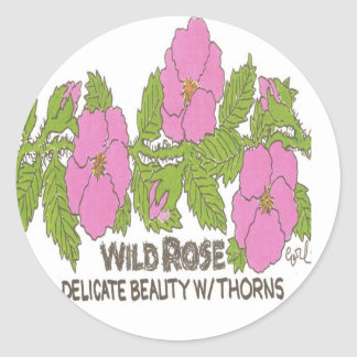 WILD ROSE,,Delicate beauty w/ thorns. Classic Round Sticker