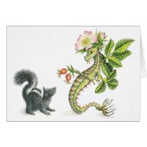 Wild Rose Dragon & skunk - card