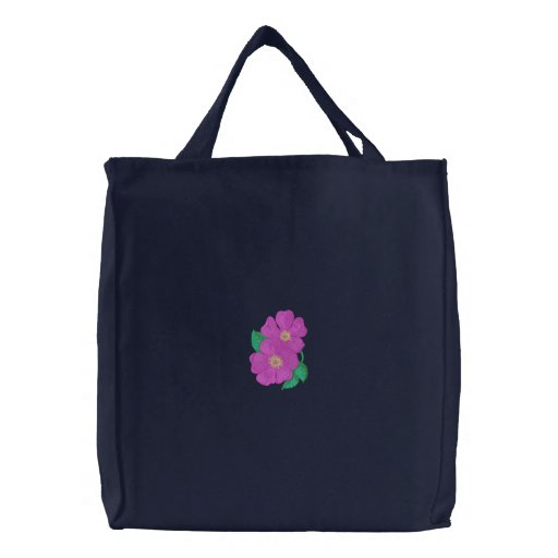 Wild Rose Embroidered Tote Bag