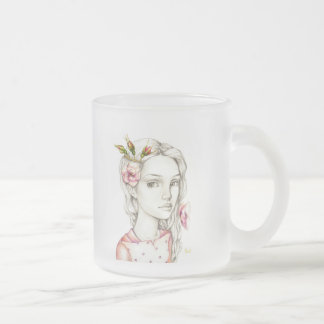Wild Rose Frosted Glass Coffee Mug