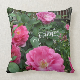 Wild Rose Garden Pink Roses Personalized Throw Pillow