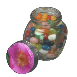 Wild Rose Glass Candy Jar with Candy