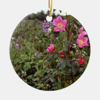Wild rose Kenai Alaska Pink flowers Christmas Tree Ornament