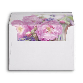 Wild Rose & Lavender Summer Flower Wedding Envelope