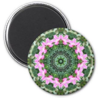 Wild Rose Pink Flower Mandala 2 Inch Round Magnet