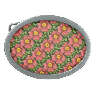 """""""Wild Rose Tiled Pattern"""" Floral Belt Buckle"""