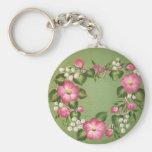 Wild Rose Wreath Basic Round Button Keychain