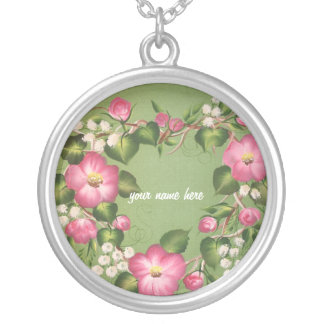 Wild Rose Wreath Silver Plated Necklace