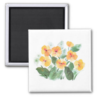 Wild Rose Yellow 2 Inch Square Magnet