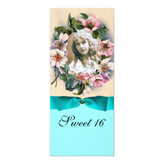 WILD ROSES AND BLUE RIBBON PHOTO TEMPLATE MONOGRAM PERSONALIZED INVITES