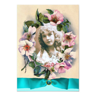 WILD ROSES AND BLUE RIBBON SWEET 16 PHOTO TEMPLATE CARD
