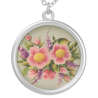 Wild Roses and Lilacs Round Pendant Necklace