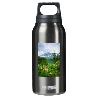 Wild roses and mountain lake in Jasper Insulated Water Bottle