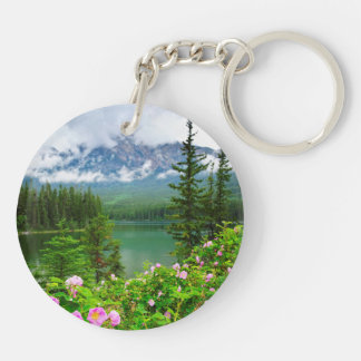 Wild roses and mountain lake in Jasper Keychain
