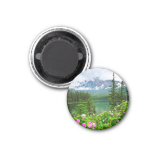 Wild roses and mountain lake in Jasper Magnets